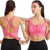 Deportes Sujetador Mujer Sportswear Cultivo Deporte Top Top Ajustable Cinturón Zipper Yoga Running Bras Push Up Chaleco A prueba de choque Ropa interior Gimnasio Bralette ( Color : Pink , Size : S )