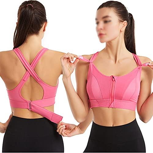 Deportes Sujetador Mujer Sportswear Cultivo Deporte Top Top Ajustable Cinturón Zipper Yoga Running Bras Push Up Chaleco A prueba de choque Ropa interior Gimnasio Bralette ( Color : Pink , Size : 4XL )