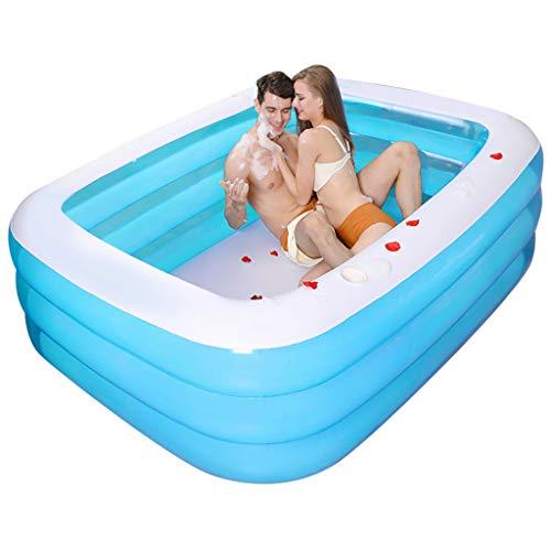 ODJOY-FAN Aufblasbare Pools planschbecken, 130x90x48cm, Familie Schwimmbad Garten Draussen Sommer Aufblasbar Kinder Planschbecken, zum Ab 6 Jahren (Blau, 130x90x48cm)