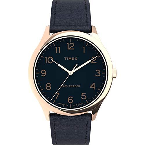 Timex Men's Easy Reader Gen 1 40mm Quartz Leather Strap, Blue, 20 Casual Watch (Model: TW2U22400)