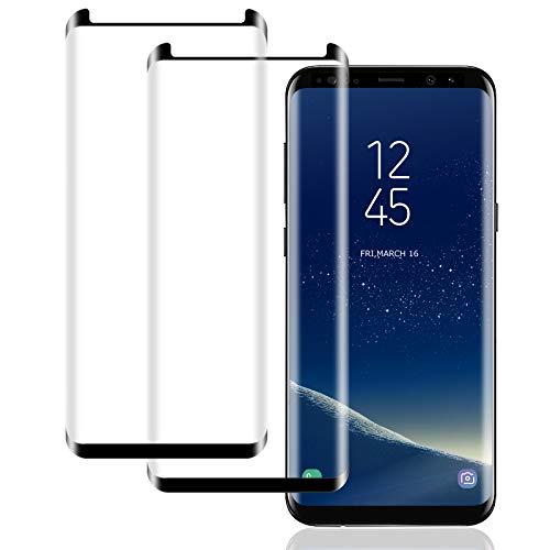 IceboyHHH Verre Trempé pour Samsung Galaxy S8, (2 Pièces) Haute Qualité 3D Incurvé Couverture Complète Dureté 9H, Sans Bulles, Film de Protection d'Écran pour Samsung S8