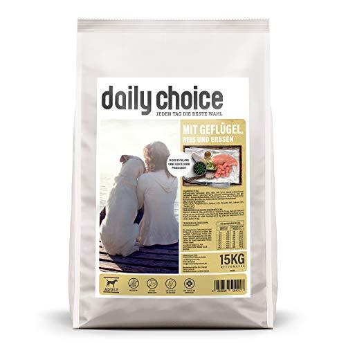 daily choice Basic - 15 kg - Trockenfutter für Hunde - mit Geflügel, Reis und Erbsen - Keine minderwertigen Kohlenhydrate - Weizenfrei - Mit Grünlippmuschel und Chicorée
