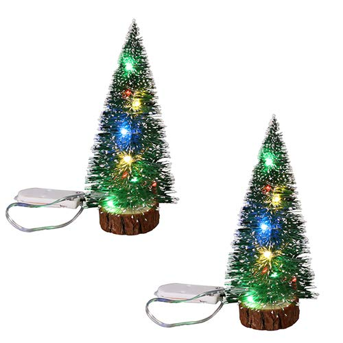 Asweeting Artificial Sisal Snow Frost Trees,Mini Christmas Tree with Led Lights,Mini Ornaments Tabletop Trees DIY Crafts Mini Pine Tree for Christmas Holiday Party (Colored Light, 11 x 30cm)