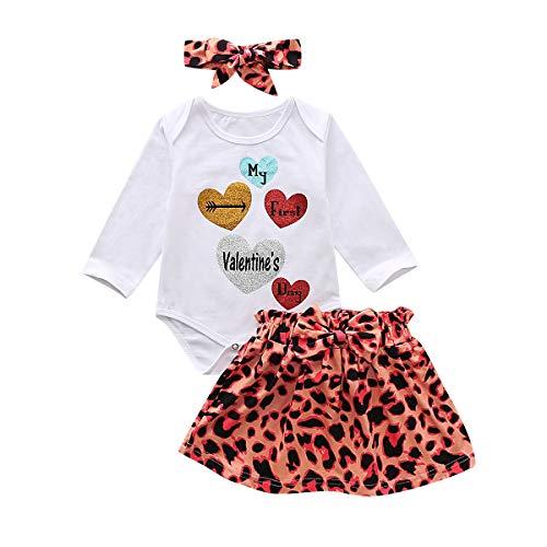 Haokaini bebé recién Nacido Infantil Trajes de día de San valentín Mameluco + Pantalones Falda Diadema Ropa de Leopardo para niño