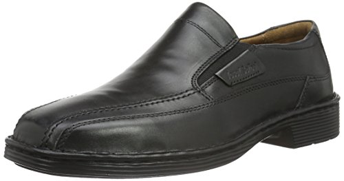 Josef Seibel Herren Slipper Bradfjord 07,Weite K (Extra weit),lose Einlage,College,Schuhe,Loafer,Businessschuhe,Anzugschuhe,schwarz,46 EU / 11 UK