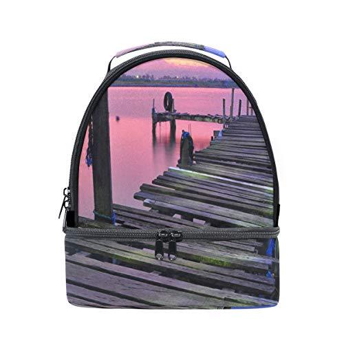 Dubbele lunch schoudertas Sunset Lake Bridge Cooler verstelbare riem voor picknick