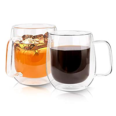 Growom Glass Coffee Mug, Double Walled Espresso Cup, Double Wall Insulated Coffee Cup with Handle, Clear Borosilicate Glass Mug for Latte, Cappuccino, Tea, Beverages, Ice Coffee, Set of 2, 12OZ