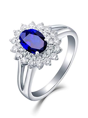 AYDOME Engagement Ring White Gold 18K, 1ct Sapphire Bloom Flower with Oval Diamond Blue Women O 1/2