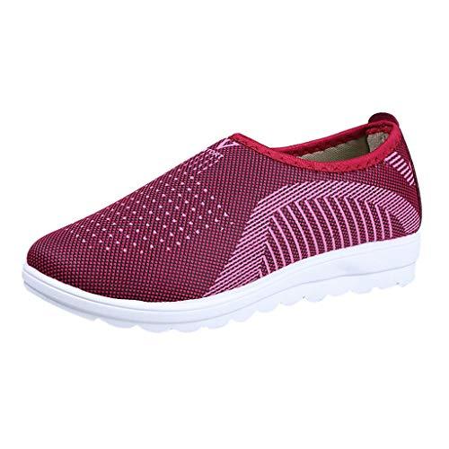 Zapatos Ligeros de Malla Transpirable para Caminar al Aire Libre para Mujeres Zapatillas Trail Running Mujer Cómodos Calzado Plana Casual Mocasines Trekking Senderismo Yvelands(rojo,37)