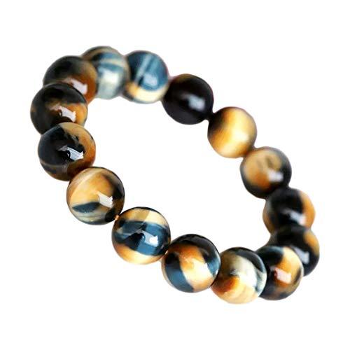 Pulsera de perlas redondas de ojo de tigre, color dorado y azul, 10 mm