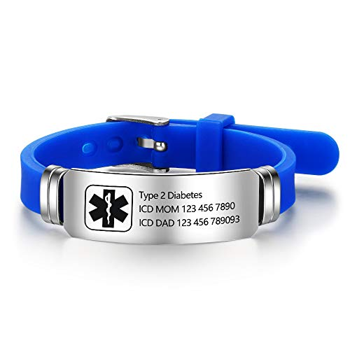 Personalized Silicone Adjustable Medical Alert Bracelets Waterproof Sport Emergency ID Bracelets for Men Women (Black) (Blue)