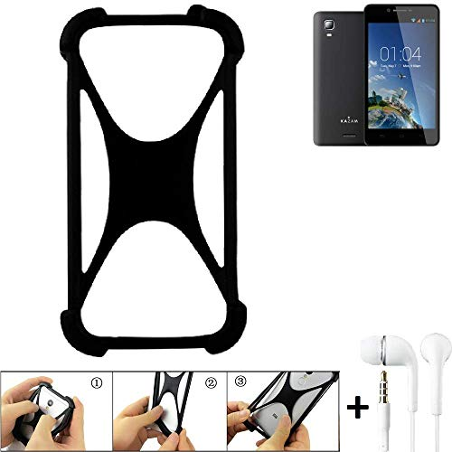 K-S-Trade® Handyhülle Für Kazam Trooper 2 6.0 Schutzhülle Bumper Silikon Schutz Hülle Cover Case Silikoncase Silikonbumper TPU Softcase Smartphone, Schwarz (1x), Headphones