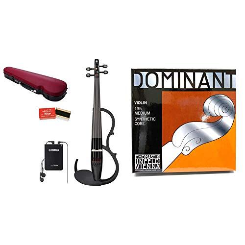 【セット買い】ヤマハ YAMAHA サイレントバイオリンセット YSV104S BL ブラック 弓・ハードケース・松脂がセットになったベーシックモデル & THOMASTIK Dominant ドミナント 4/4バイオリン弦セット(E弦130 スチール・ボ