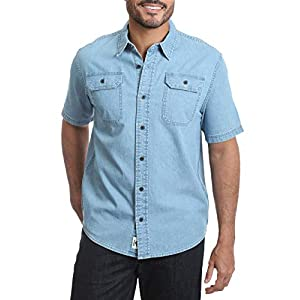 Men's Short Sleeve Stretch Button Down Shirt ( Light Wash Denim)