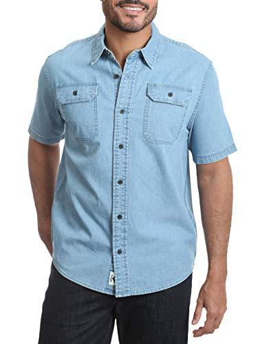 Men's Short Sleeve Stretch Button Down Shirt ( Light Wash Denim) 3