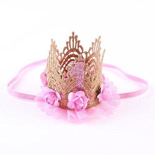 Diademas Bebé, ❤️Amlaiworld Diademas bebe niña bautizo Accesorios para el cabello niñas infantil Banda para el cabello Sombreros de encaje de corona de flor elástica de bebé (Rosado)