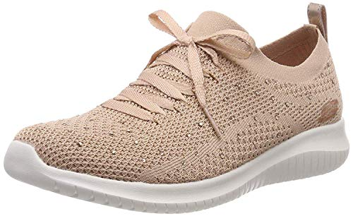 Skechers Ultra Flex-Strolling out, Zapatillas Mujer, Rosado (Ros Black Knit Mesh/Gold & White Trim), 37 EU