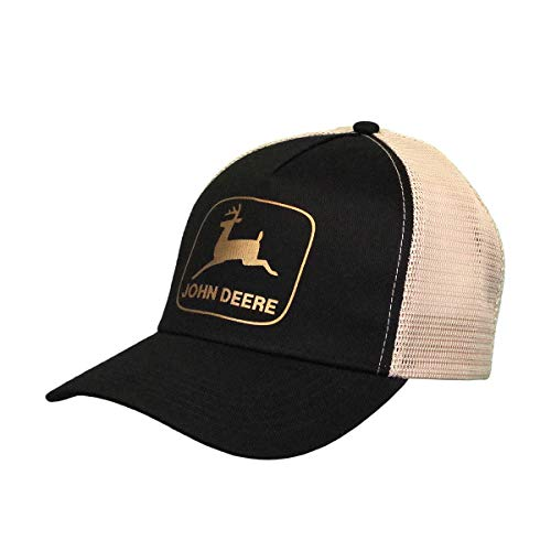 John Deere Women's Gold Logo Mesh Hat, Black