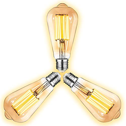 LED Edison Vintage Glühbirne, DEDVBJ Retro LED Filament Edison Glühlampe E27 8W-230V 2600-2700K Retro Amber Warmweiß Licht, Ideal für Nostalgie und antike Lampe im Haus Café Bar usw- 3 Stück