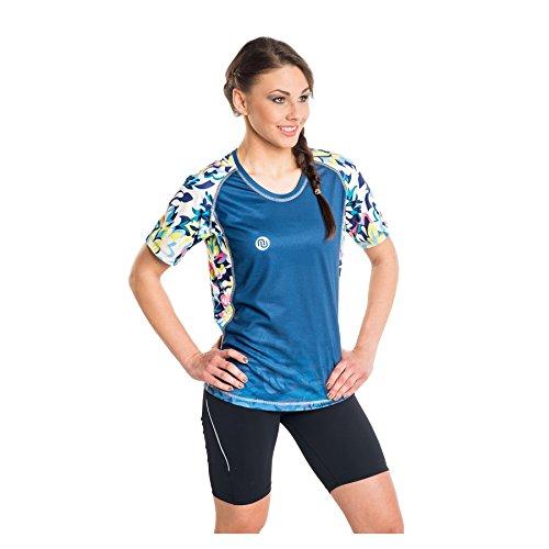 Nessi T-Shirt pour Femme DK Fitness T-Shirt de Course à Manches Longues Respirant Green Flowers L 22 Green Flowers