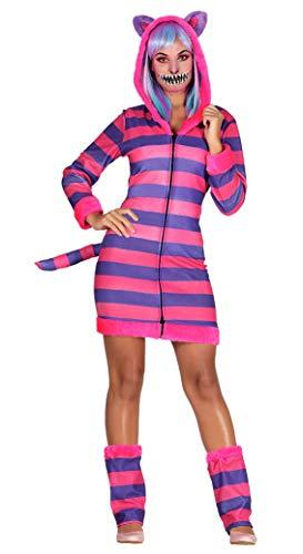 Guirca sexy gestreifte Miezekatze Kostüm für Damen Größe M-L - Fasching Karneval, Größe:L