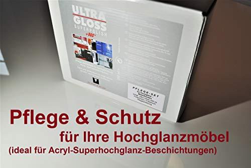 ULTRA GLOSS Superpolish + DGS Pflegeset für Hochglanzmöbel 250 ml + Poliermaus + Poliertuch Küchen Möbel Politur Hochglanzpflegemittel