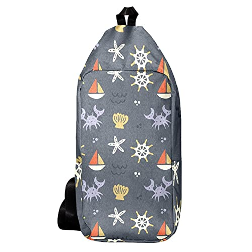 Umhängetasche, Gürteltasche Umhängetasche Geldbörse Satchel Umhängetaschen Rucksack Sling Bag Reisen Wandern Kompass Segelmuster Krabben Starfish für Männer und Frauen
