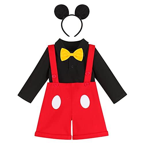 Conjunto de 3 Piezas para Bebé Niños, Mameluco de Manga Larga y Pantalones Cortos de Tirantes con Diadema de Oreja Trajes Casual Disfraz de Mickey Mouse para Fotografía Nergo - Lunares 18-24 Meses