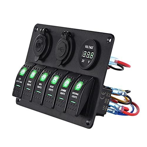 KAOLALI Panel de Interruptores Basculantes con 6 Interruptores + Toma de Mechero 12V + Voltimetro + 3,1A Doble Cargador USB para Barco Coche Furgoneta Caravana