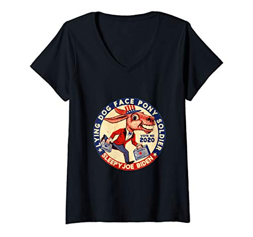 Womens Lying Dog Face Pony Soldier Quid Pro Quo Joe Biden Donkey V-Neck T-Shirt