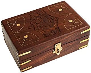 Hand Carved Wooden Jewelry Holder Box Organizer Multipurpose with Floral Carvings & Brass Inlay by Store Indya