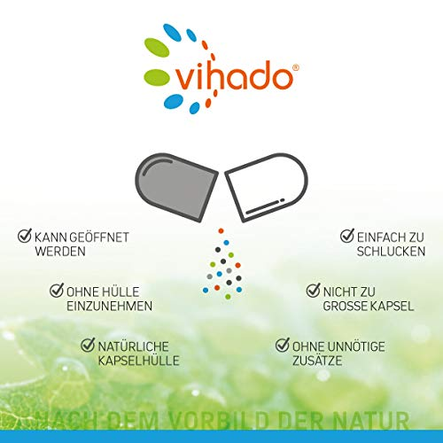 Vihado Multivitamin Tabletten hochdosiert – 26 Vitamine + Mineralstoffe + Q10 + Tagetes Erecta, 60 Kapseln, 1er Pack (1 x 52,7 g) - 6