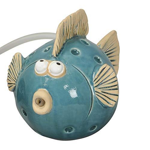 Wasserspeier Fisch blau, Solarpumpe