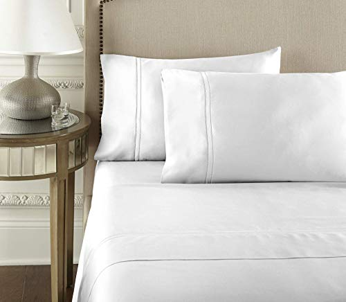 Pure Parima Luxury 100% CEA Certified Egyptian Cotton Sheet Bed Set | Extra-Long Staple | Cool, Breathable, Ultra Comfort | Double Hem-Stitched | Flat, Fitted, and 1 Pillowcase (White, Twin)