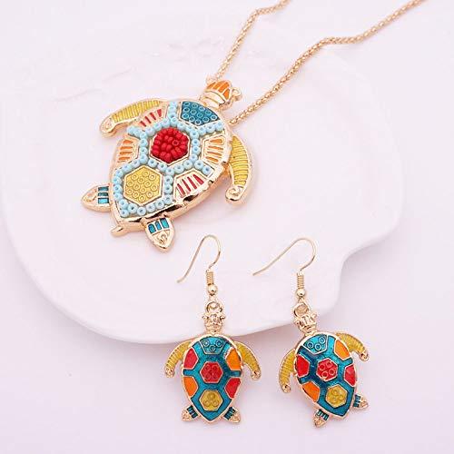 THTHT Fashion metalen halsketting oorbellen vrouwen sieraden gekleurde druppels schildpad eenvoudige klassieke creatieve charme schattig overdreven geschenk goud