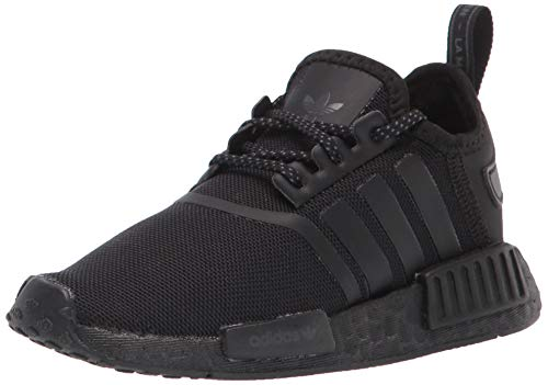 adidas Originals Kids NMD_r1 Elastic Sneaker, Black/Black/Grey, 7 US Unisex Toddler