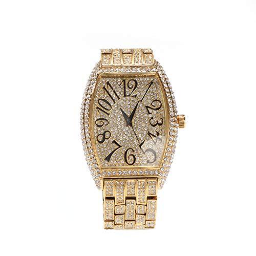 Fantex Reloj de pulsera para hombre, con dial Tonneau, número romano, 47 mm, con diamantes de imitación austriacos de brillo completo