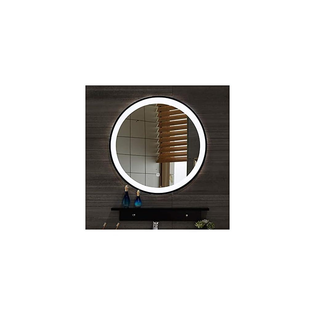 Miroir de Salle de Bains LED Noir Cadre de Fer forgé Rond Suspension Touch Switch Smart Toilette Smart Toilet Two…