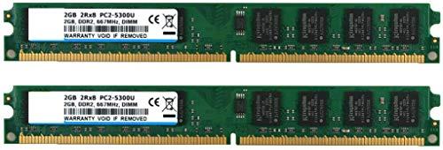 BPX Kit de 4 GB (2 x 2 GB) 2RX8 DDR2 667MHz DIMM PC2-5400 CL5 PC2-5300 PC2-5300U 1.8v 240 Pin 5300U Memoria sin ECC sin búfer de Escritorio Módulo de RAM Compatible con Intel AMD System-Verde