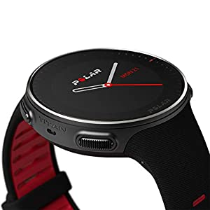 POLAR VANTAGE V – Premium GPS Multisport Watch for Multisport & Triathlon Training (Heart Rate Monitor, Running Power, Waterproof), Titan (Premium Titanium, Lightweight), Black / Red