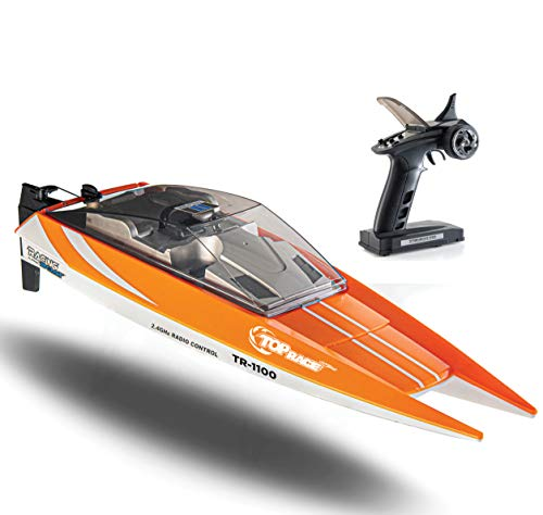 Top Race Remote Control Boat, 25 MPH Rc Boats for Adults, Rc Boat for Pools and Lakes, Low Battery & Range Signal, Auto Flip Recovery, Fastest Racing Pool Boat Speed Boat Gift Toy