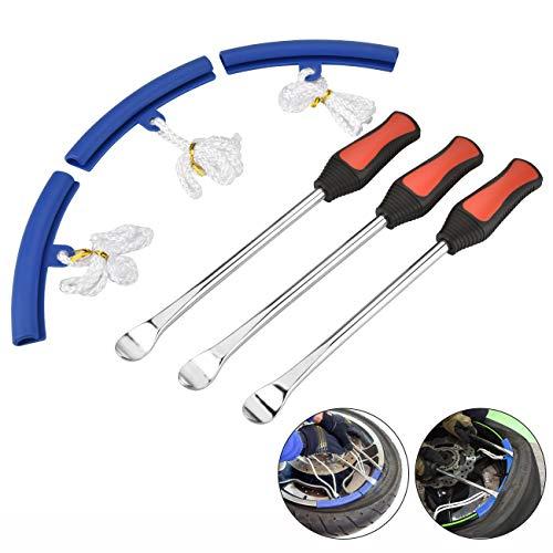 moonlux Reifenheber Reifen, Reifen Löffel Reifen Montiereisen Tire Spoons Lever Iron Tool Kits 3pcs Reifenheber montierhebel Werkzeug + 3pcs Rad Felge Protektoren Tool Kit für Motorrad Fahrrad Reifen