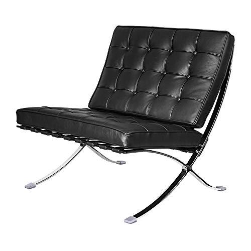 Klassischer Loungesessel, Faltbarer Echtleder-Seitenstuhl, Clubsessel mit Edelstahlrahmen für Schlafzimmer, Wohnzimmer, Lesezimmer (schwarz(Einzelstuhl))