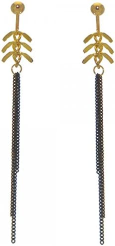 BETTINA gold tone black chain clip on earrings