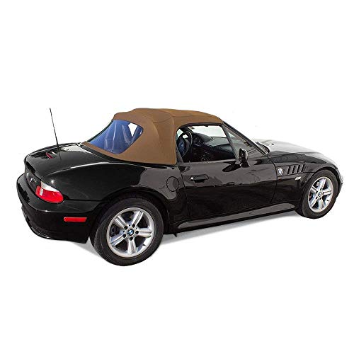 Fits: BMW Z3 1996-2002 Convertible Soft Top Replacement & Plastic Window Twill (Tan)