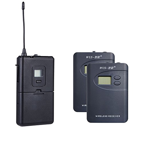 ZLWUS 800R Wireless Tour Guide System, UHF794~806MHz Digital AudioGuias y AudioGuías (1pc Transmisor + 2pc Auricular) para Enseñanza Visiting and Conferencia(Gris)