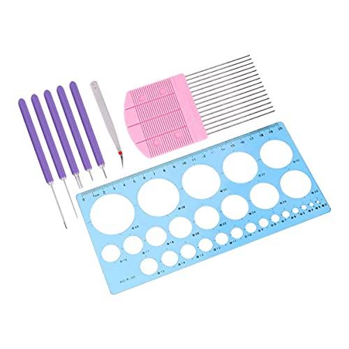 LIXBD Papier-Rüschen-Werkzeug-Set, 8-teilig, Papier-Rüschen-Werkzeuge und Zubehör, Quilling-Papierstreifen für Kunst und Handwerk
