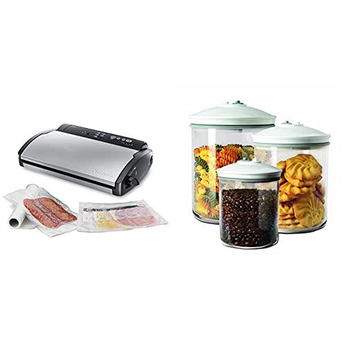 Food Saver V2860 - Envasadora al vacío, 2 tipos de envasado, 3 velocidades, color negro y plata +...