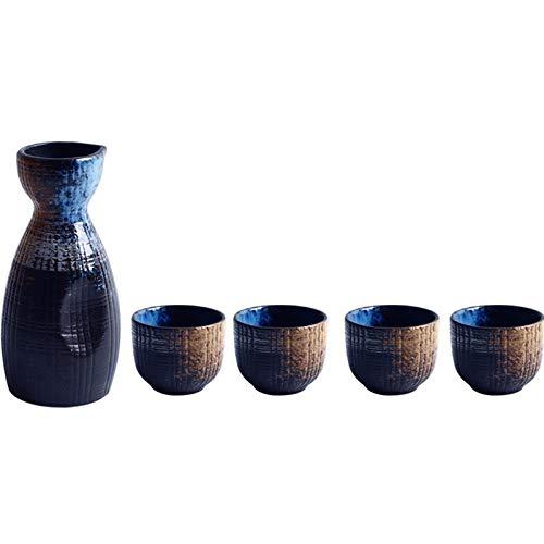 Japonés estilo sake vino cálido chino vino conjunto casa cerámica sake vino conjunto de vinos (Color : 1 pot 4 cups)