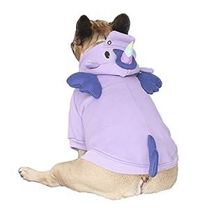 iChoue Unicorn Dog Costumes Hoodie Warm Coat Winter Clothes for French Bulldog Frenchie Shiba Inu -Purple Unicorn/M